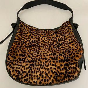 J. Crew Leopard Calf Hair Hobo Bag